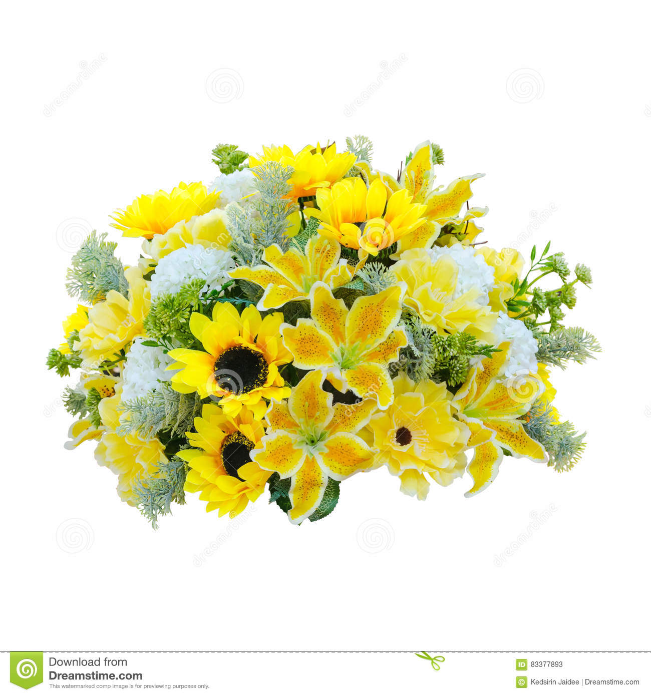 Bouquet Fake Yellow Flower Stock Image Image Of Background 83377893