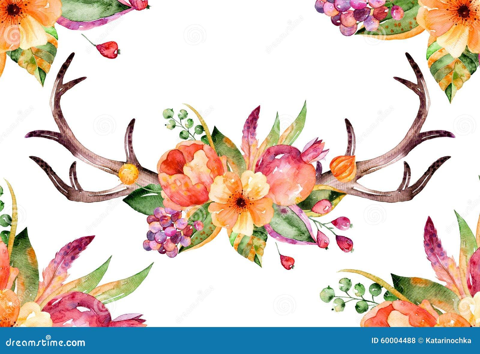 Bouquet Floral Colore Avec Des Feuilles Des Klaxons Et Des Fleurs
