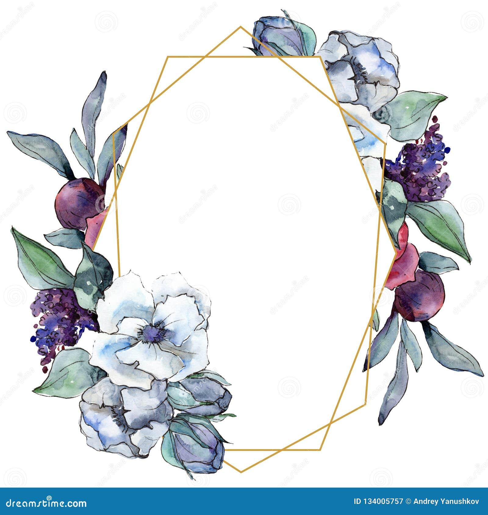 Bouquet Floral Flower Watercolor Background Illustration Set Watercolour Drawing Frame Border Ornament Square Stock Illustration Illustration Of Bouquet Meadow 134005757