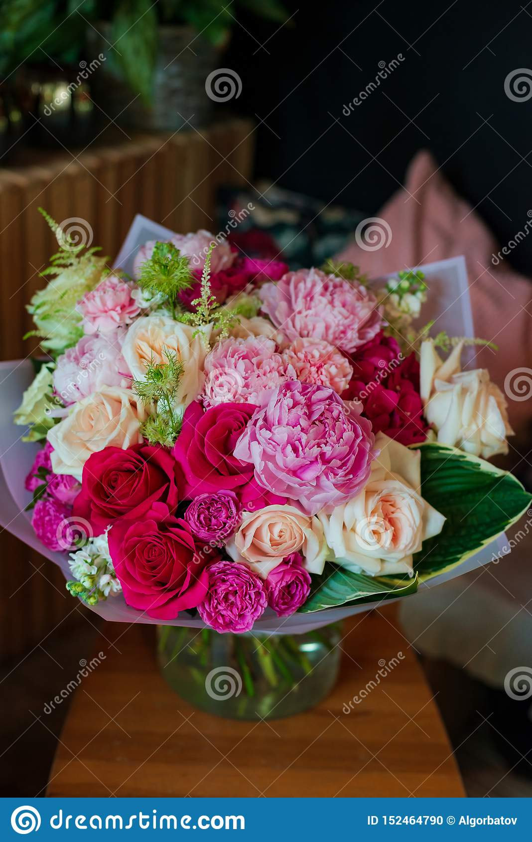 Bouquet Of Flowers From Anemone Rose Ranunculus Mattiola Tulip Eucalyptus Narcissus For A Wedding Or Holiday Stock Photo Image Of Color Gift 152464790