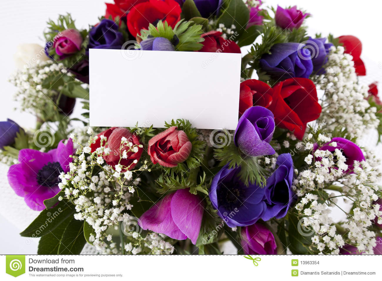 bouquet of flowers with blank white card stock photo image of colored love 13963354. Black Bedroom Furniture Sets. Home Design Ideas