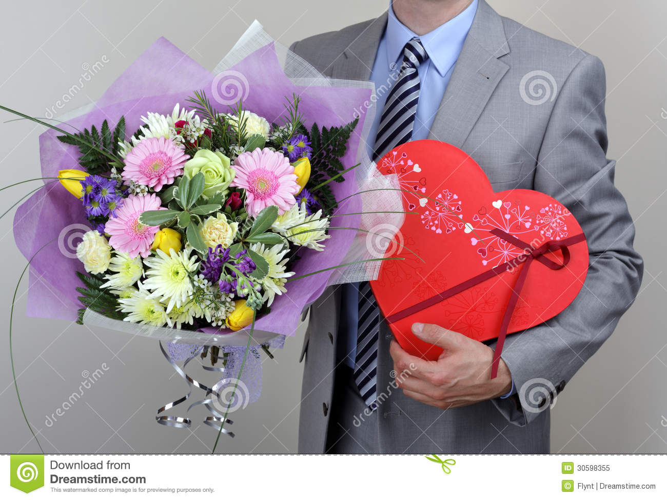 Bouquet Flowers And Box Chocolates Royalty Free Stock Image 30