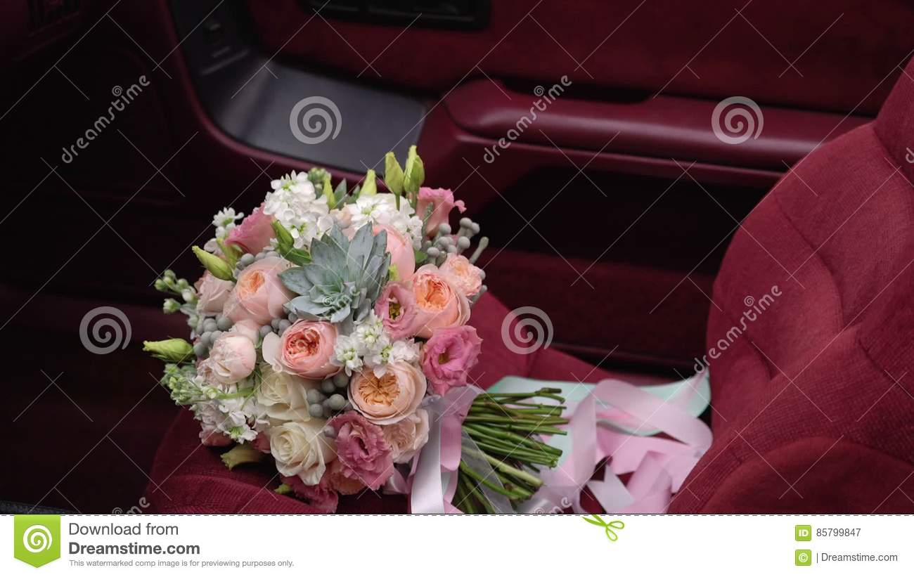 Bouquet Flowers On Car Seat Stock Video Video Of Love Wedding