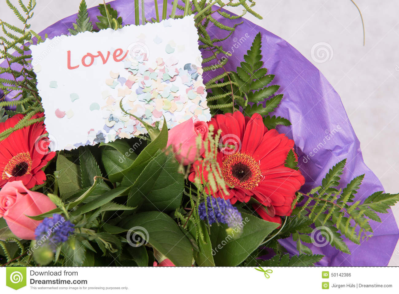 bouquet of flowers with card love stock photo  image of