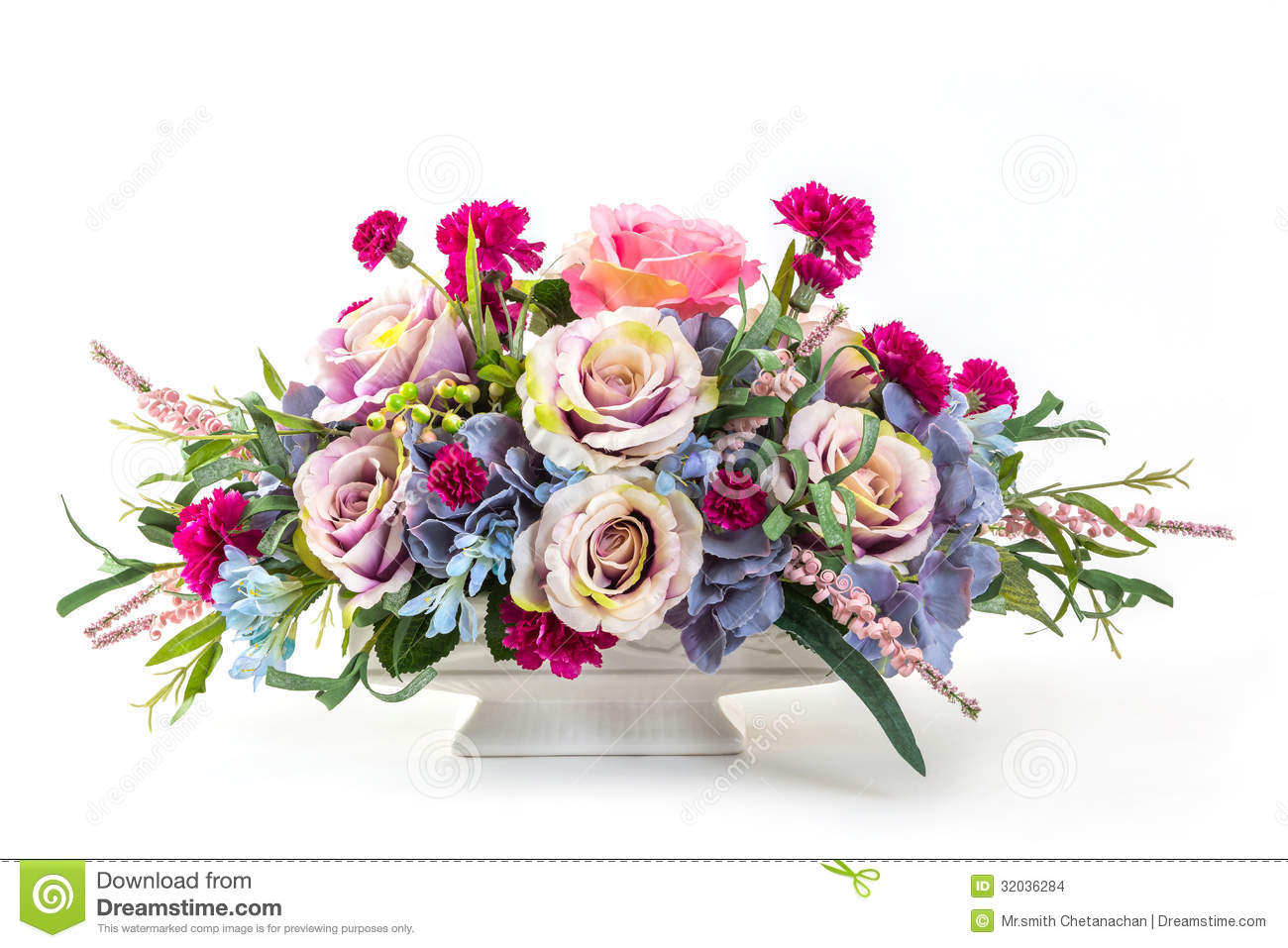 Bouquet Of Flowers In Ceramic Pot Stock Photo Image