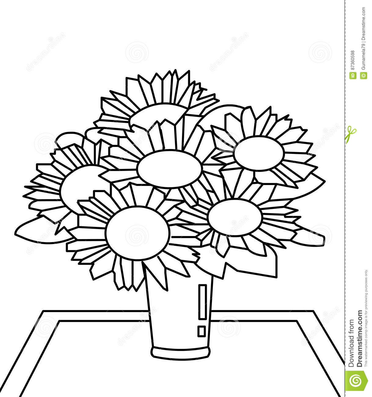 Bouquet Of Flowers Coloring Page Stock Illustration Illustration