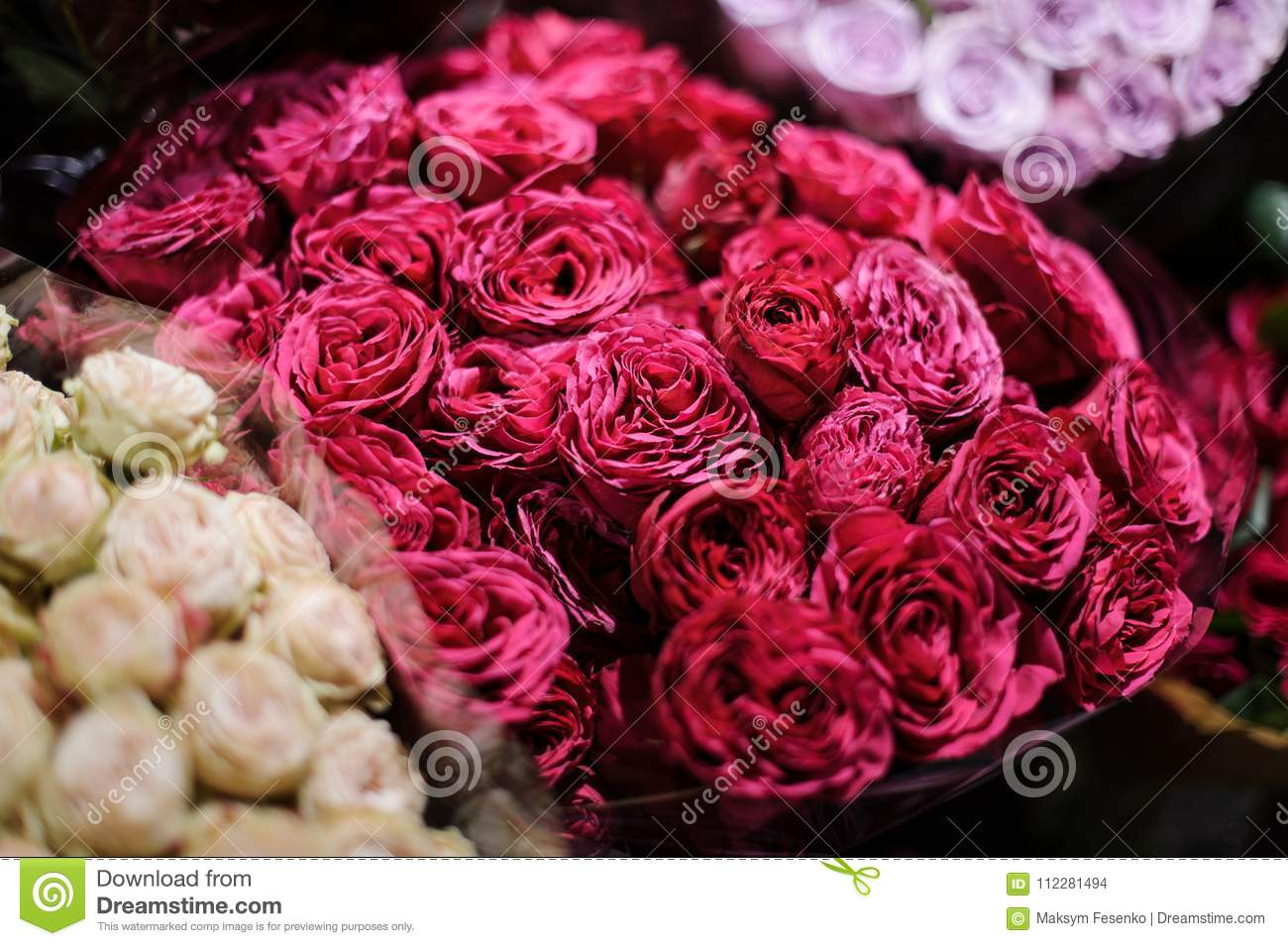 Bouquet Of Flowers Consisting Of Deep Pink Peony Roses Stock Photo