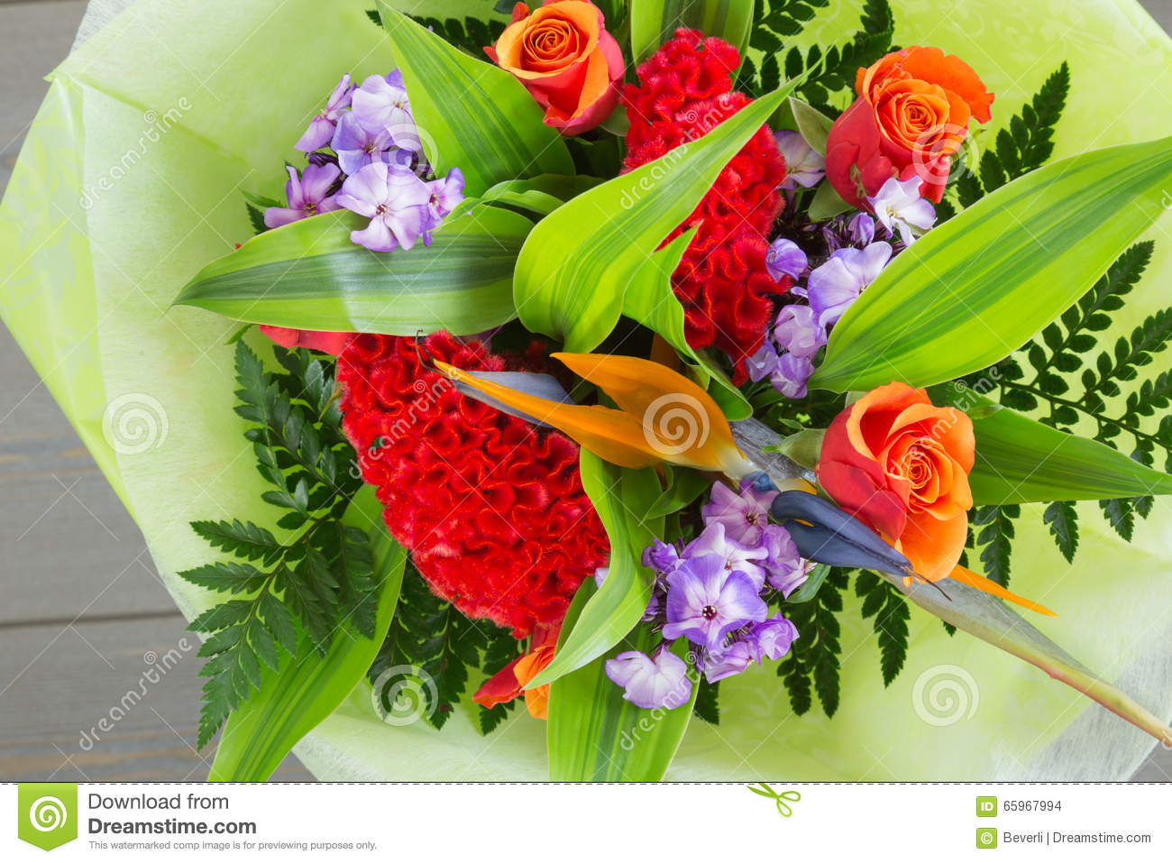 Bouquet of flowers of different varieties royalty free for Different color roses bouquet