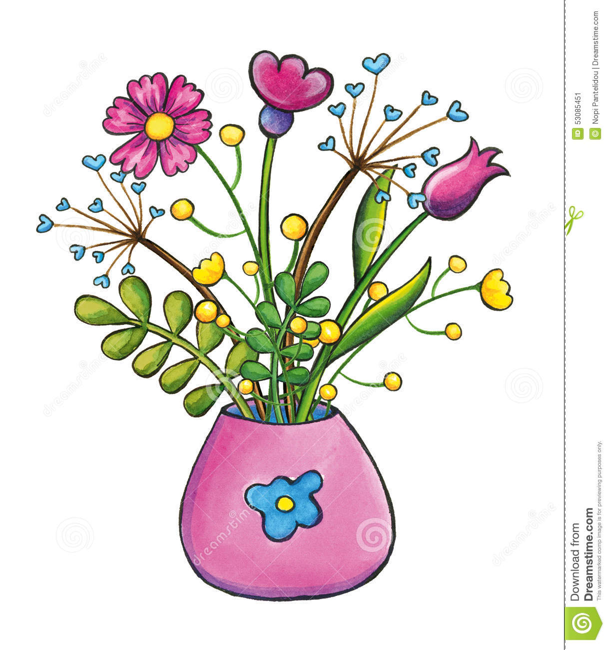 Bouquet Of Flowers Hand Drawn Clip Art Illustration Stock