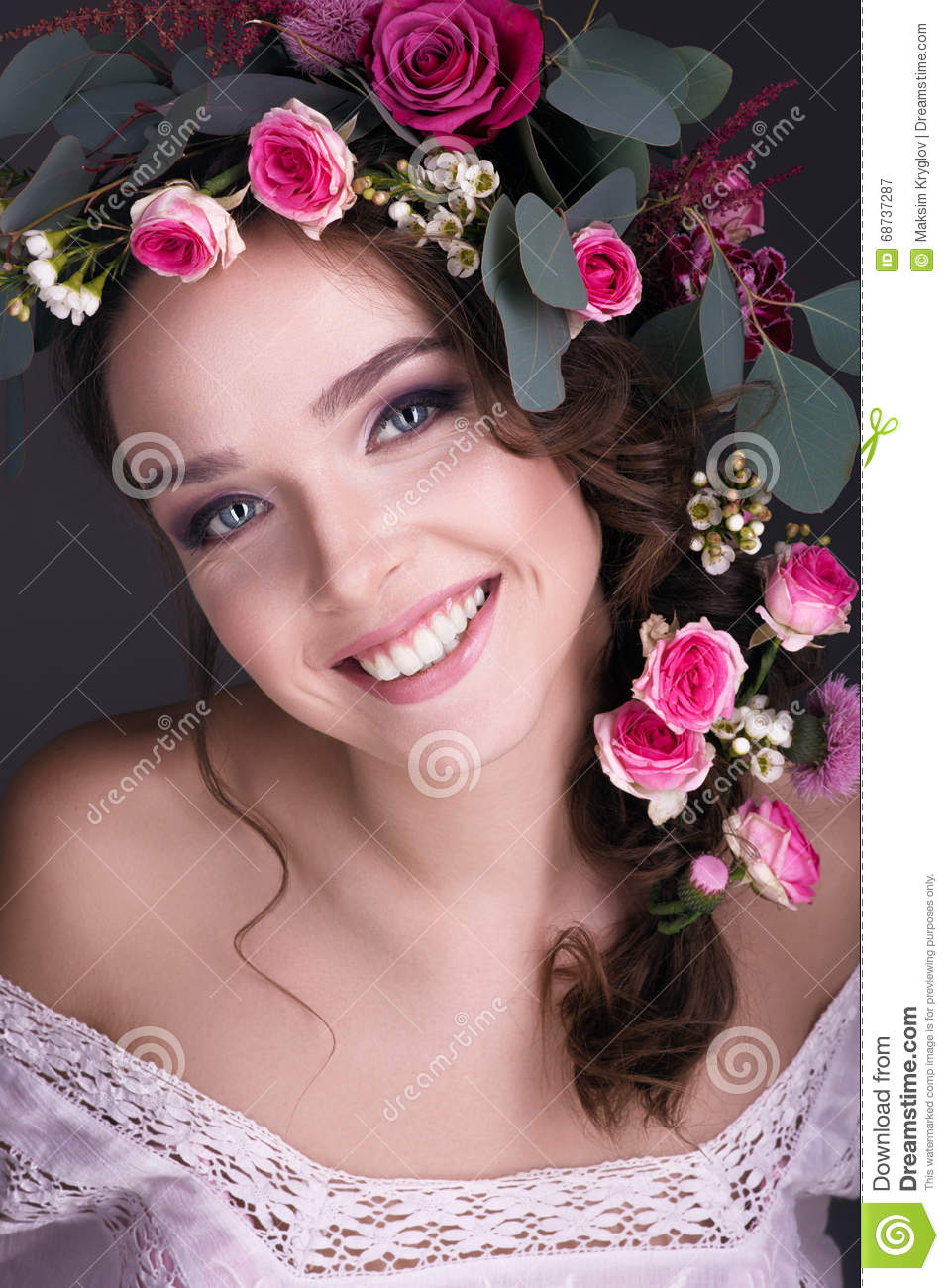 Bouquet of flowers on the head beautiful girl stock image image of bouquet of flowers on the head beautiful girl izmirmasajfo Image collections