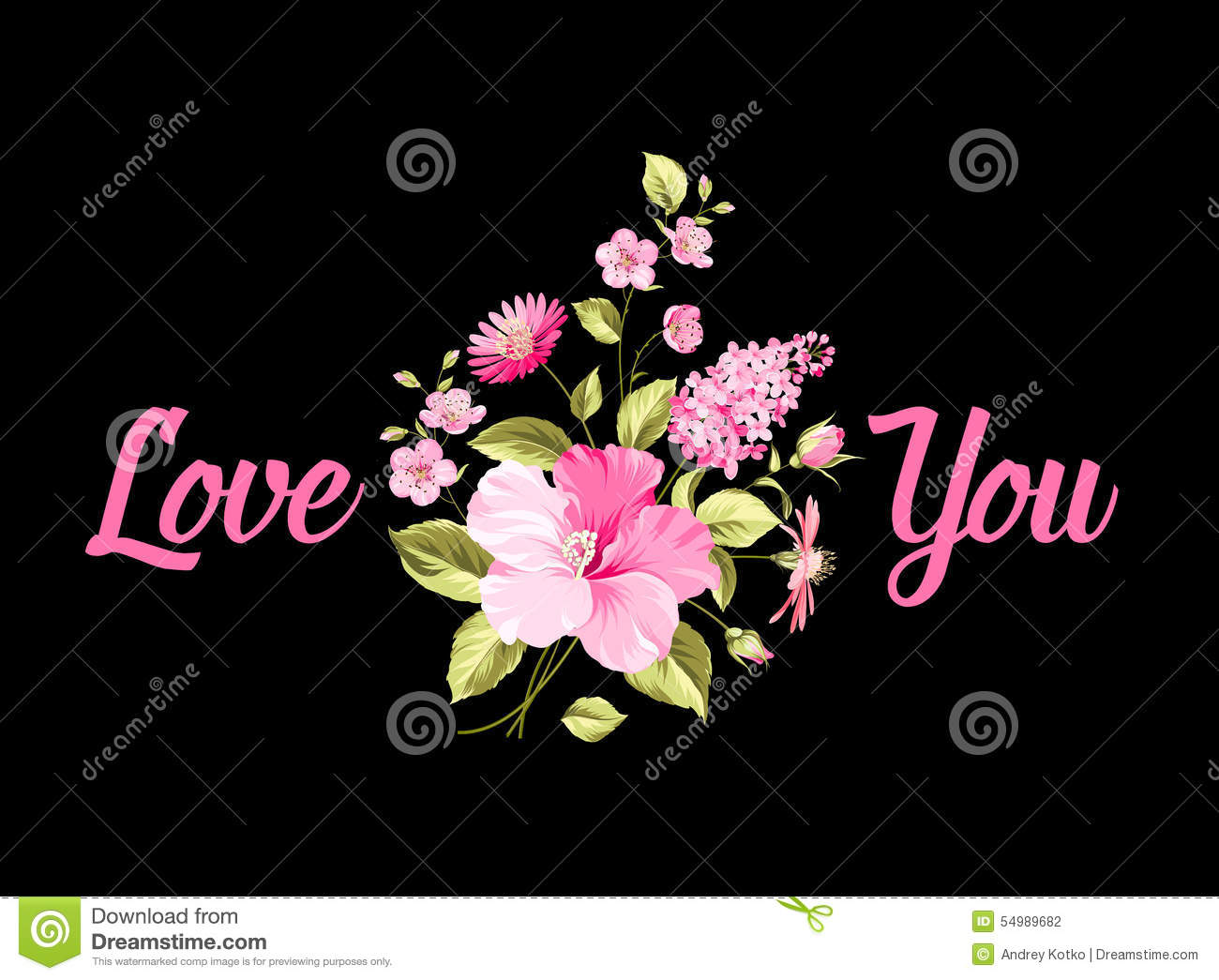 Bouquet Of Flowers I Love You Stock Vector Illustration Of Love