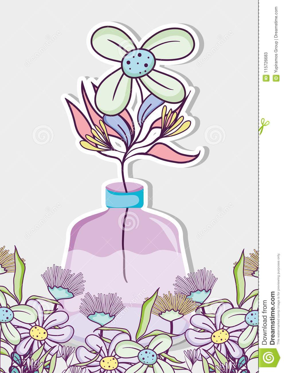 Single Flower Vase Drawing Images With Colour