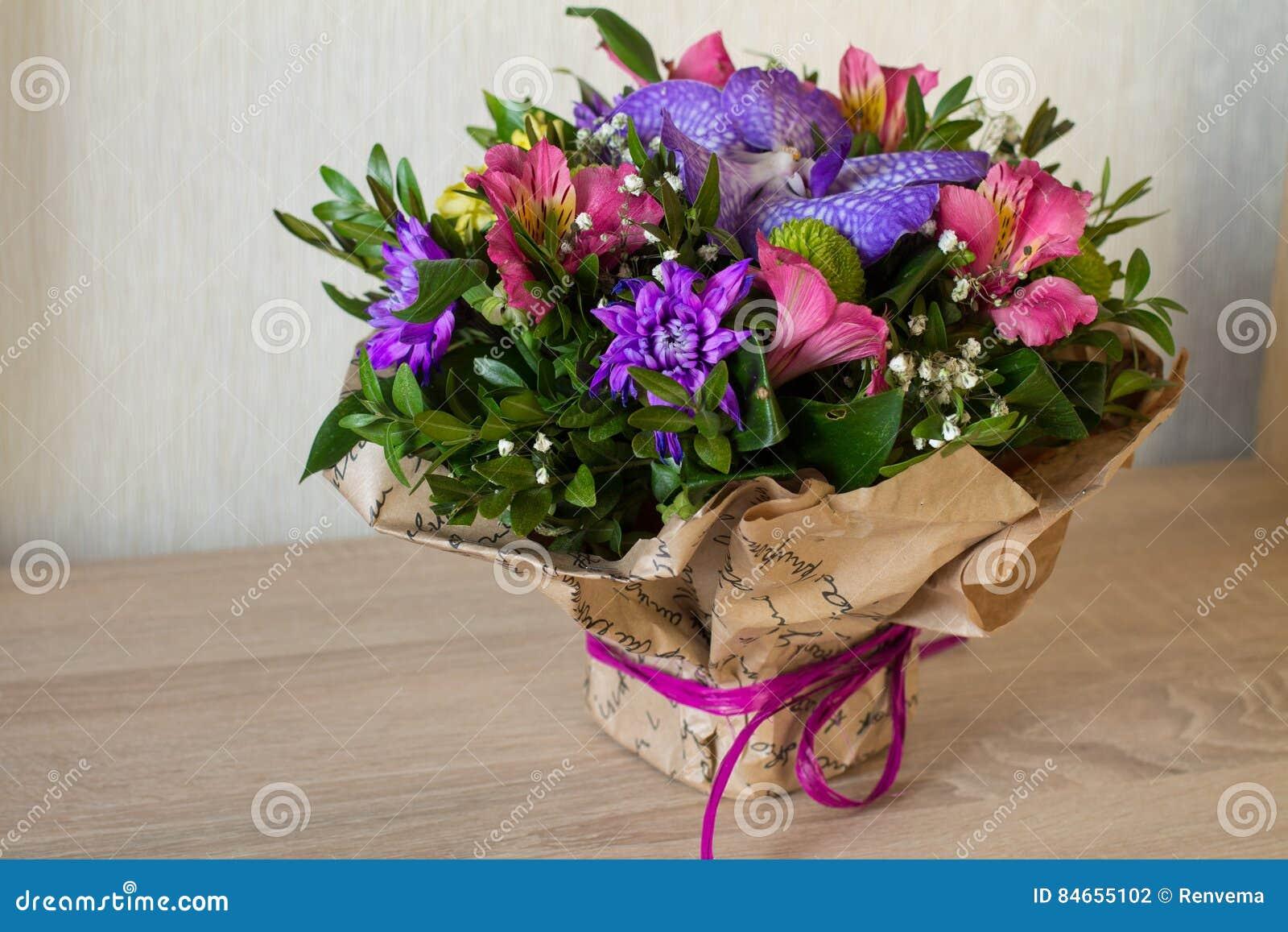 Bouquet Of Flowers Purple Orchid Alstroemeria Green Chrysanthemum