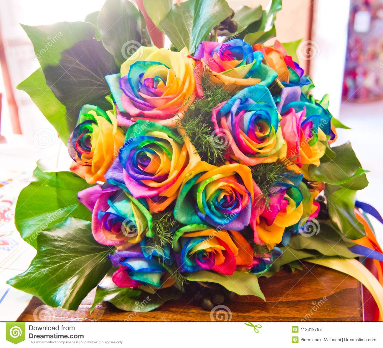 Pretty Rainbow Roses Bouquet Topsimages