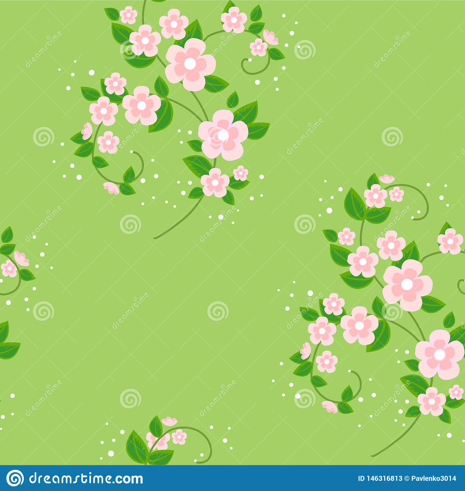 Bouquet of flowers. Spring beautiful background. Texture for wallpaper clothes. Vector illustration