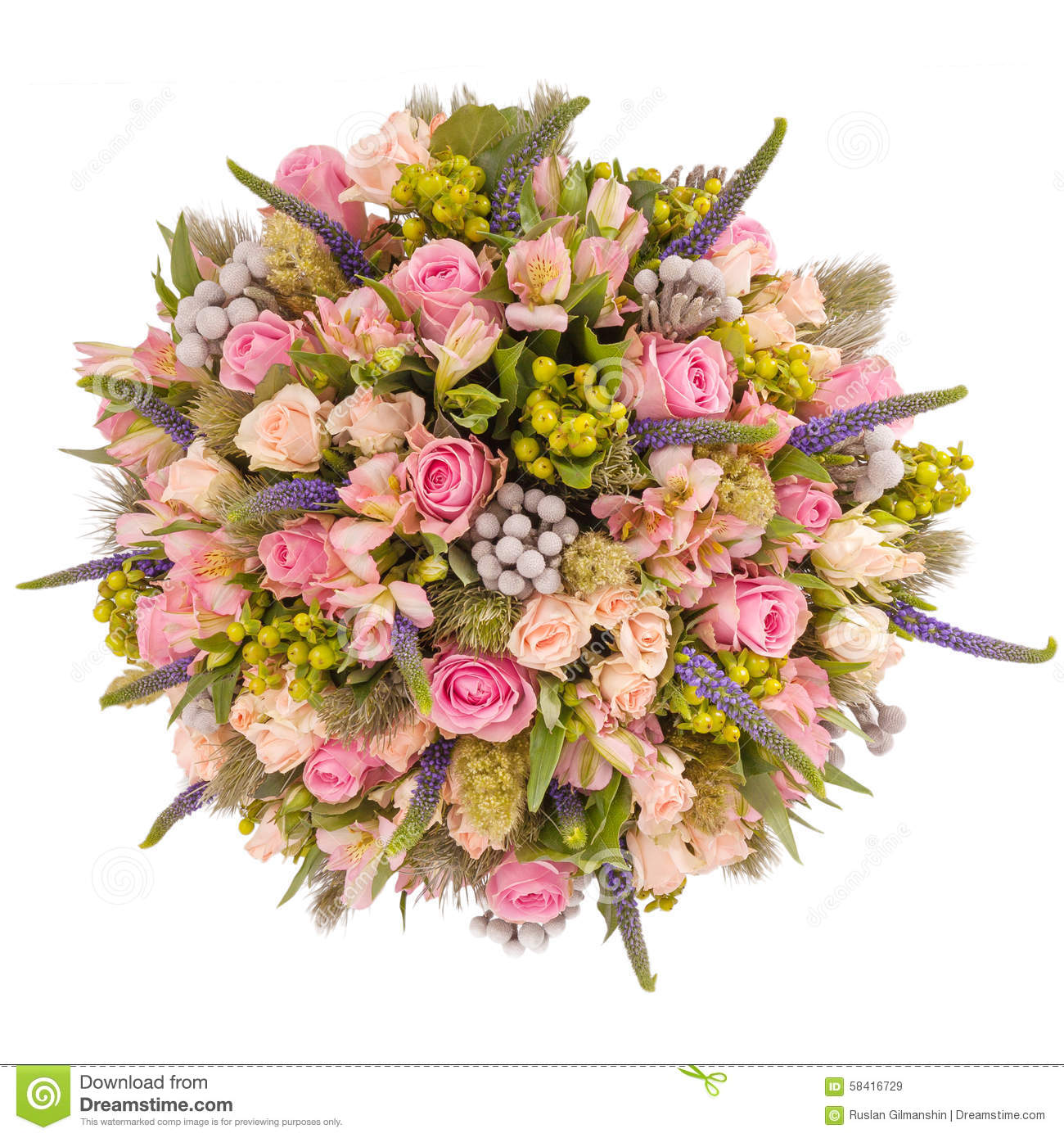 Bouquet Of Flowers Top View Isolated On White Stock Image - Image of ...