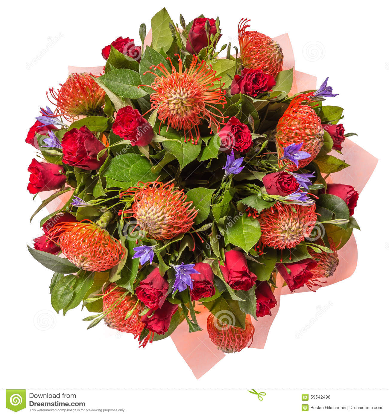 Bouquet Of Flowers Top View Isolated On White Stock Photo Image Of