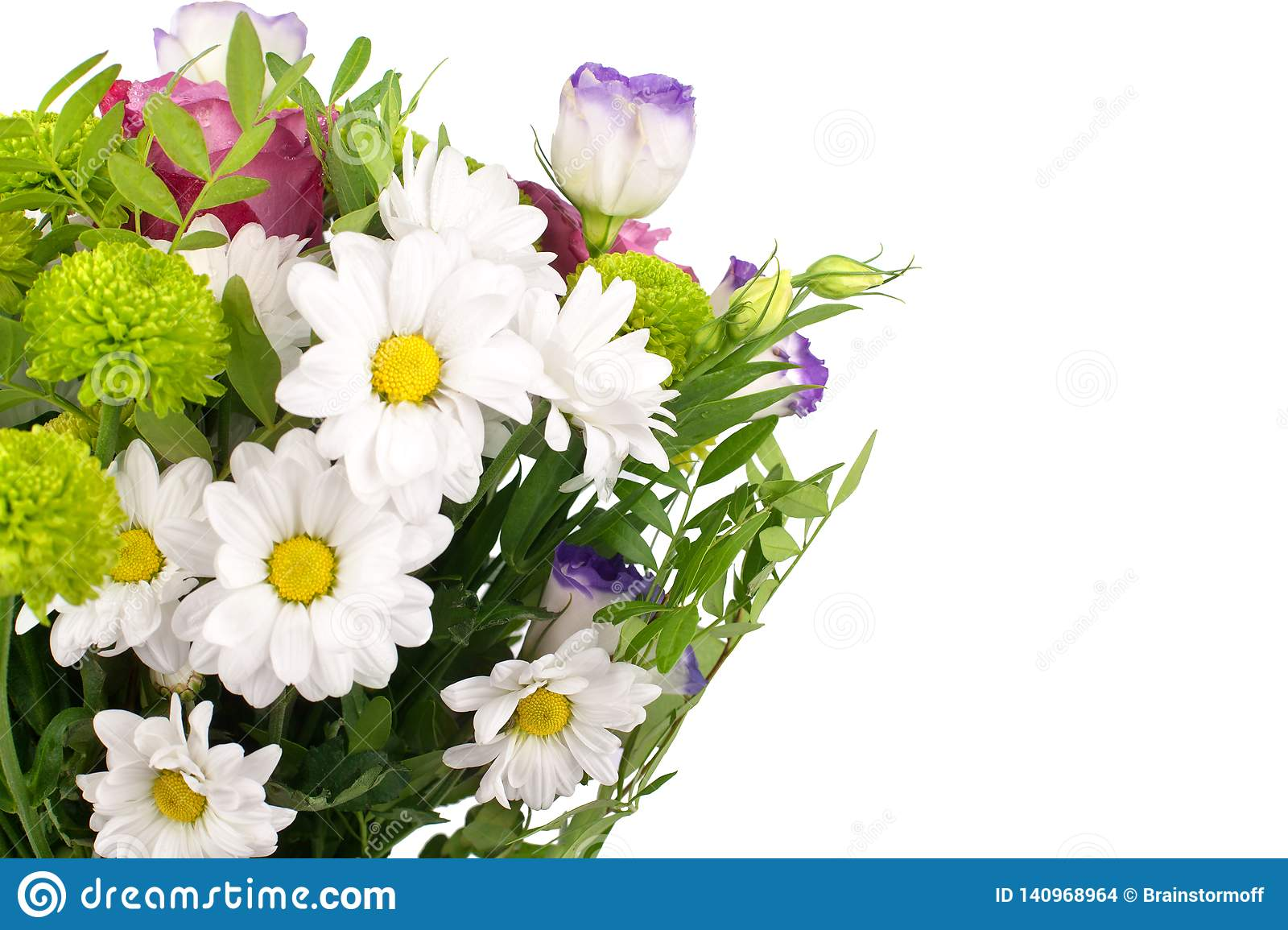Bouquet of flowers white chrysanthemums, pink roses with green leaves on white background isolated close up