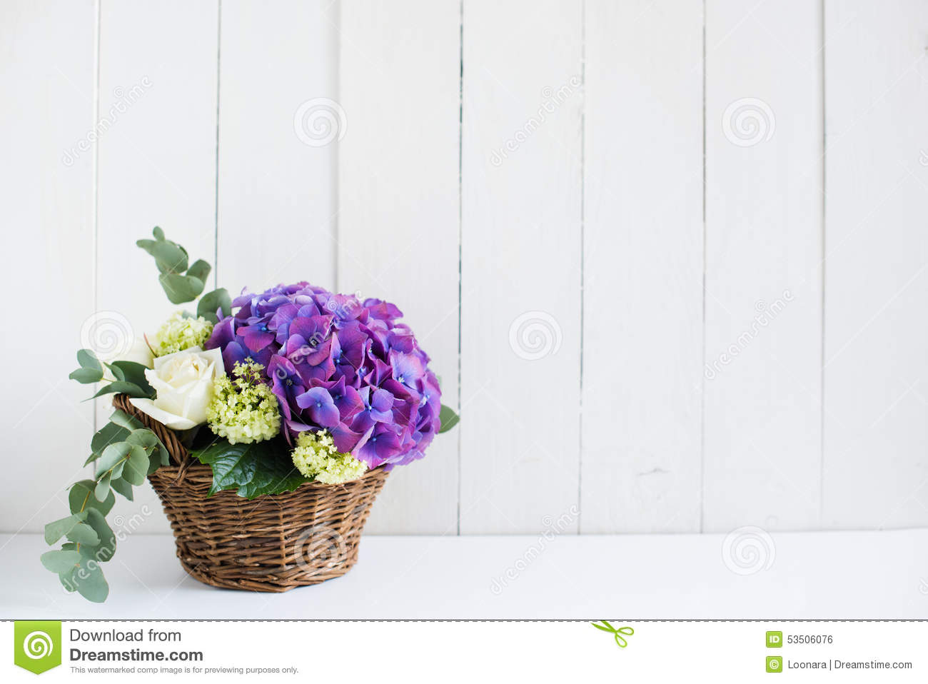 Stock Photo Bouquet Fresh Flowers Big Purple Hydrangeas White Roses Wicker Basket White Wooden Board Vintage Style Image53506076 on rustic barn home plans