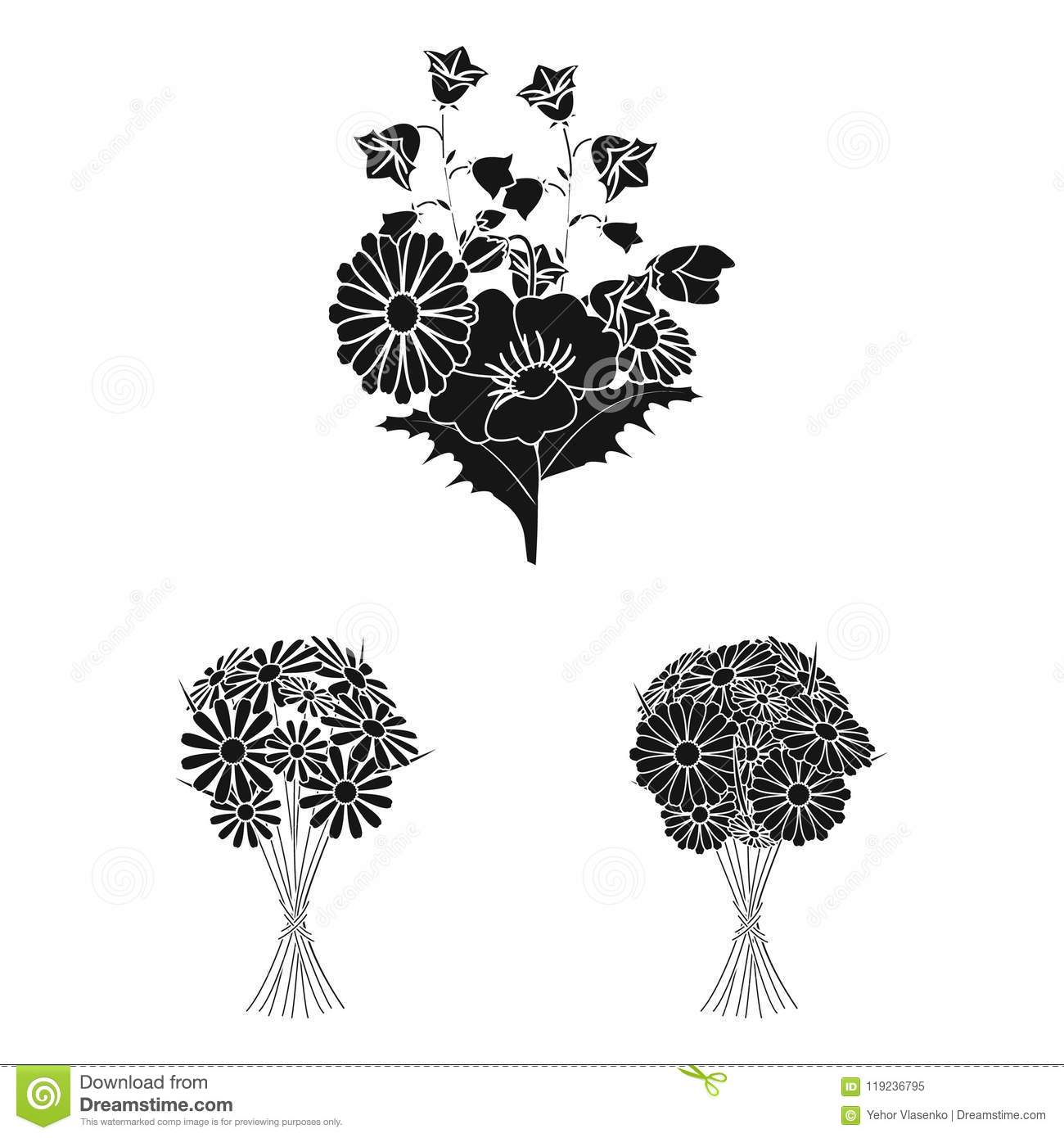 A bouquet of fresh flowers black icons in set collection for design. Various bouquets vector symbol stock web