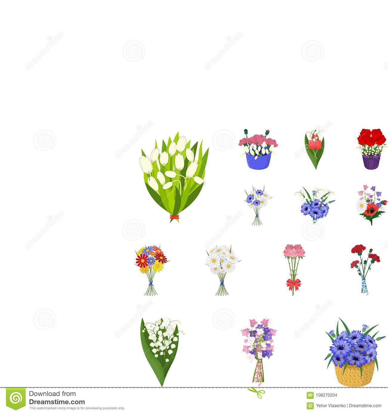 A bouquet of fresh flowers cartoon icons in set collection for a bouquet of fresh flowers cartoon icons in set collection for design various bouquets vector symbol stock web izmirmasajfo