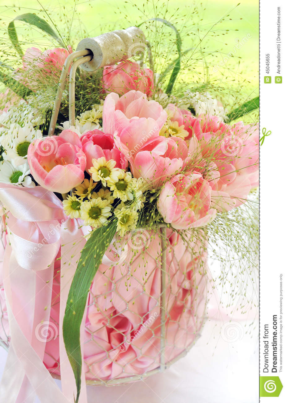 Bouquet Of Fresh Pink Flowers In A Vase Stock Image Image Of