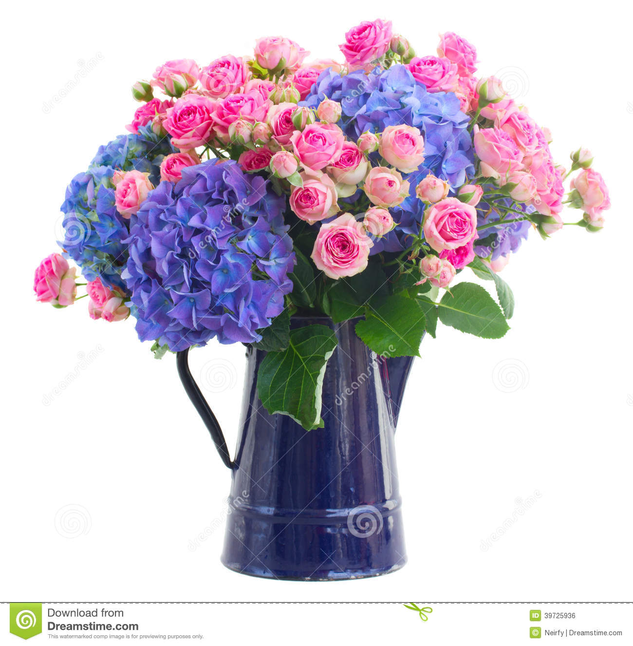 Bouquet fresh pink roses and blue hortensia flowers stock for Pink roses flower arrangements