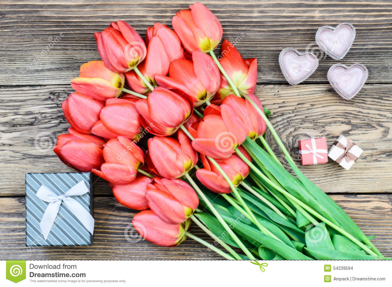 Bouquet Of Fresh Tulips With A Gifts Stock Photo Image Of Bouquet