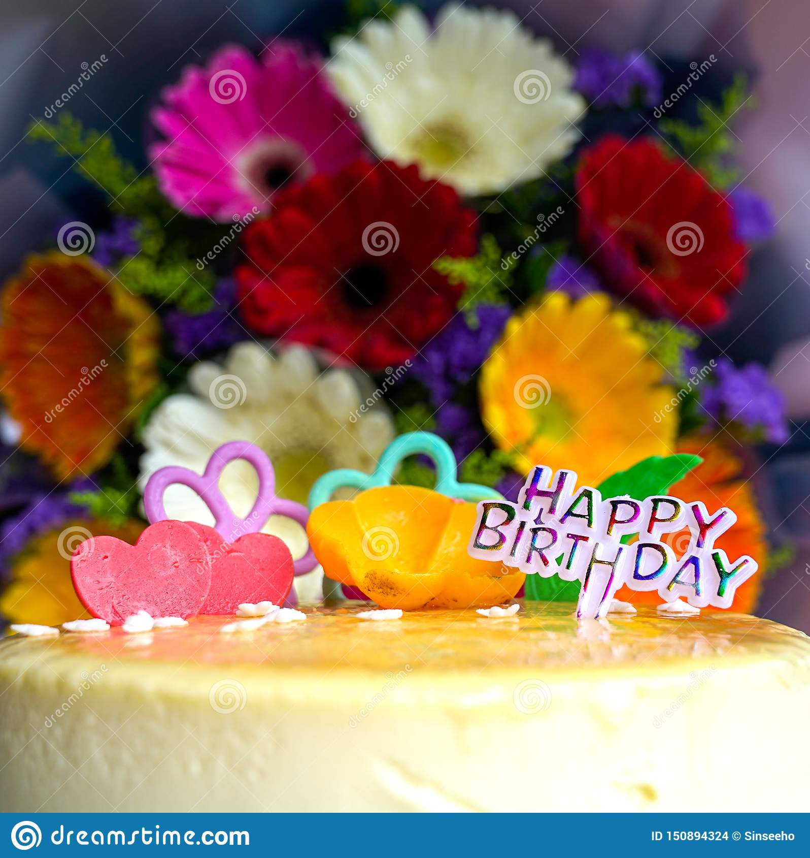 Magnificent Bouquet Of Gerbera Daisy Flowers And Cheese Cake Stock Photo Funny Birthday Cards Online Alyptdamsfinfo
