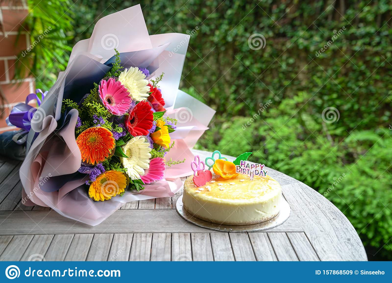 Enjoyable Bouquet Of Gerbera Daisy Flowers And Cheese Cake Stock Image Funny Birthday Cards Online Alyptdamsfinfo
