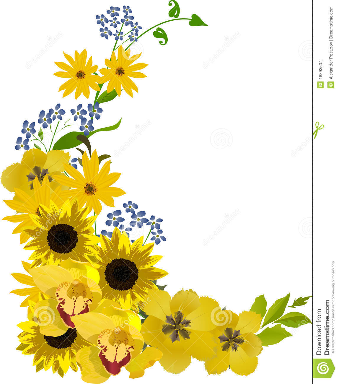 Bouquet with golden flowers illustration stock vector illustration download comp mightylinksfo