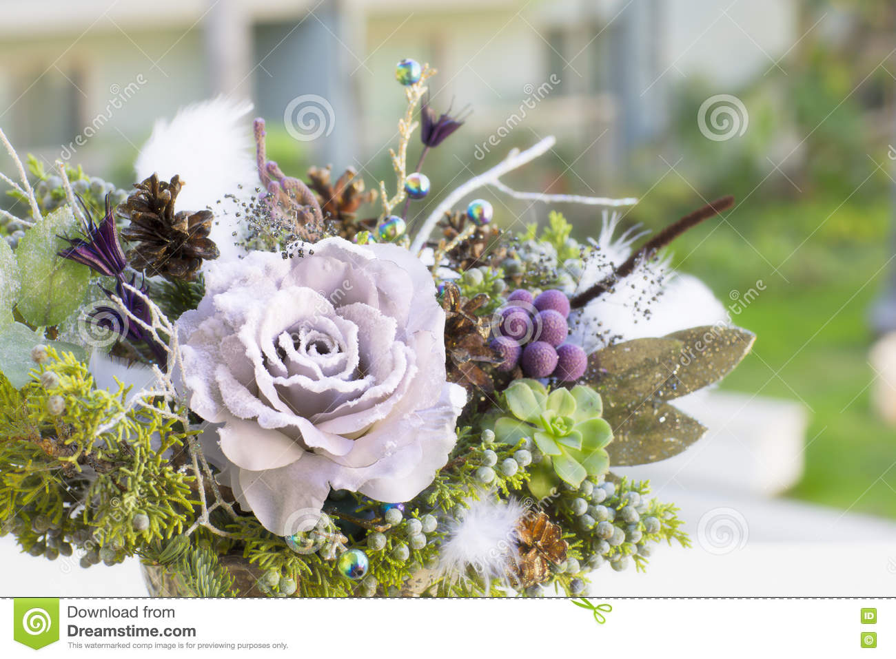Bouquet Has Christmas Tree Branches And Artificial Flowers Stock