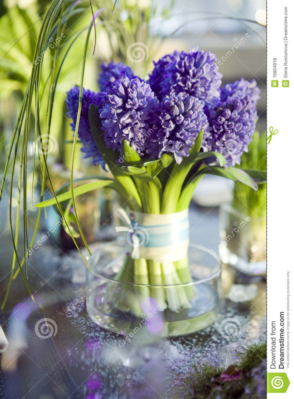 Bouquet Of Hyacinth In Vase Of Gl Stock Photo - Image of blossoming on