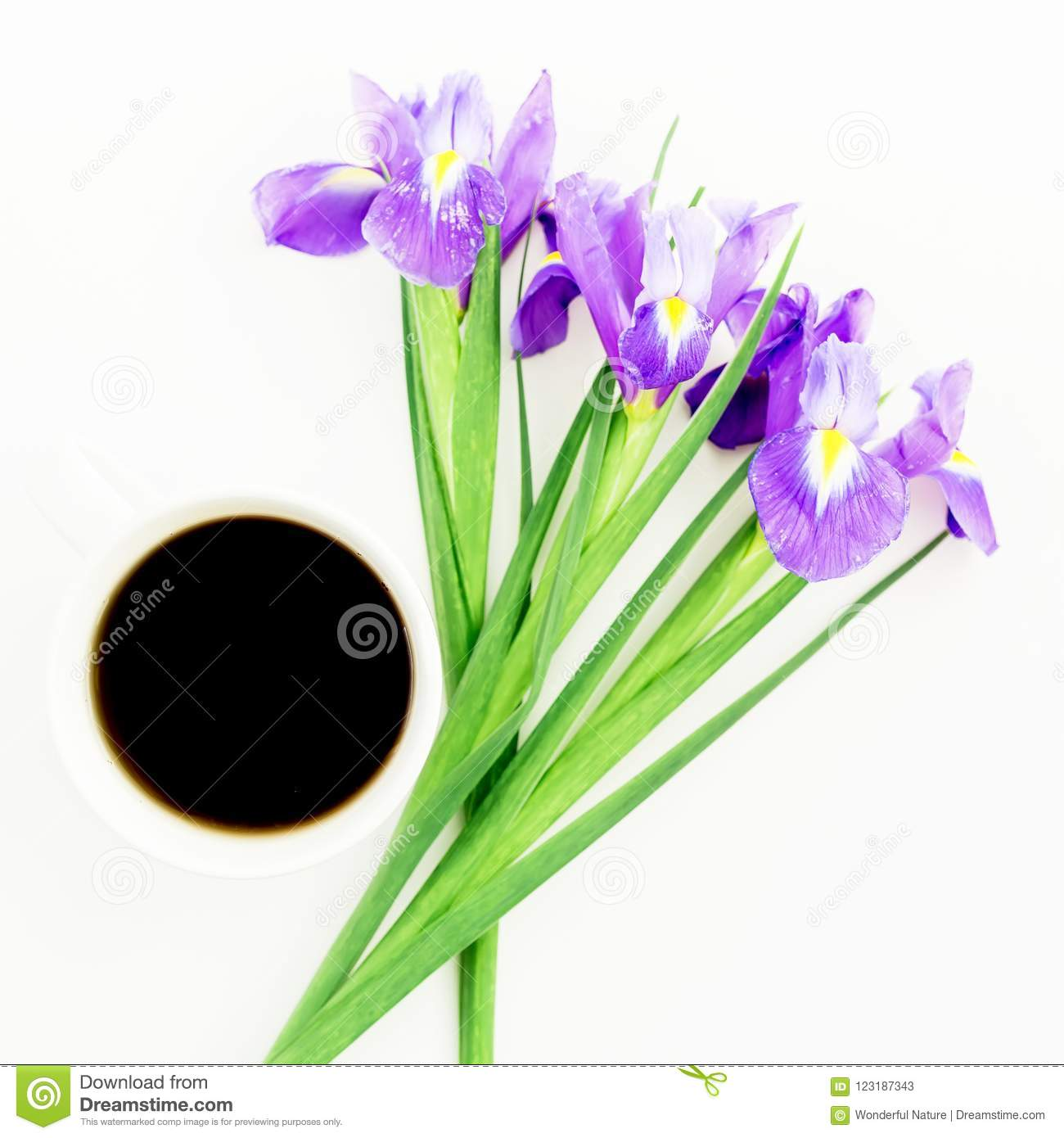 Bouquet of iris flowers with mug of black coffee on white background download bouquet of iris flowers with mug of black coffee on white background flat lay izmirmasajfo