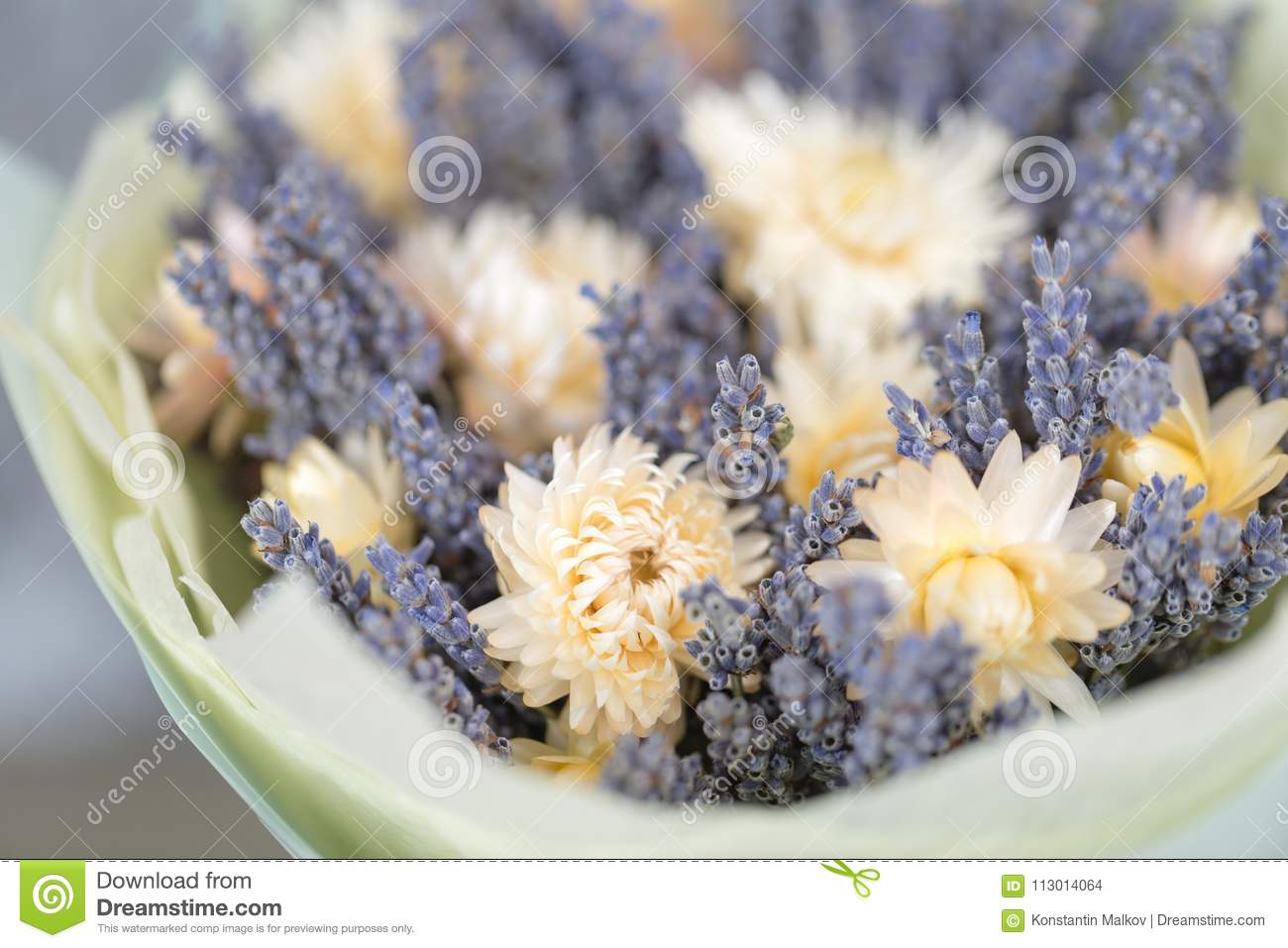 Bouquet Of Lavender And Dry Flowers Colorful Summer Bunch Of Purple Lavender And Yellow Chamomile Flowers Stock Photo Image Of Blossom Detail 113014064