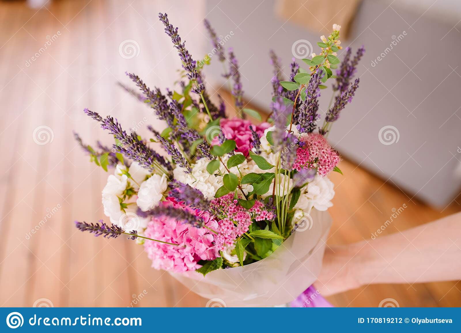 Bouquet Of Lavender And Dry Flowers Colorful Summer Bunch Of Purple Lavender And Pink Hydrangea Flowers Stock Photo Image Of Holding Decoration 170819212