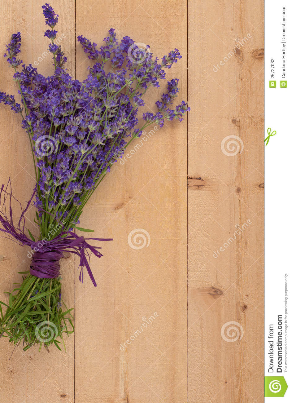 Bouquet of Lavender on Wood