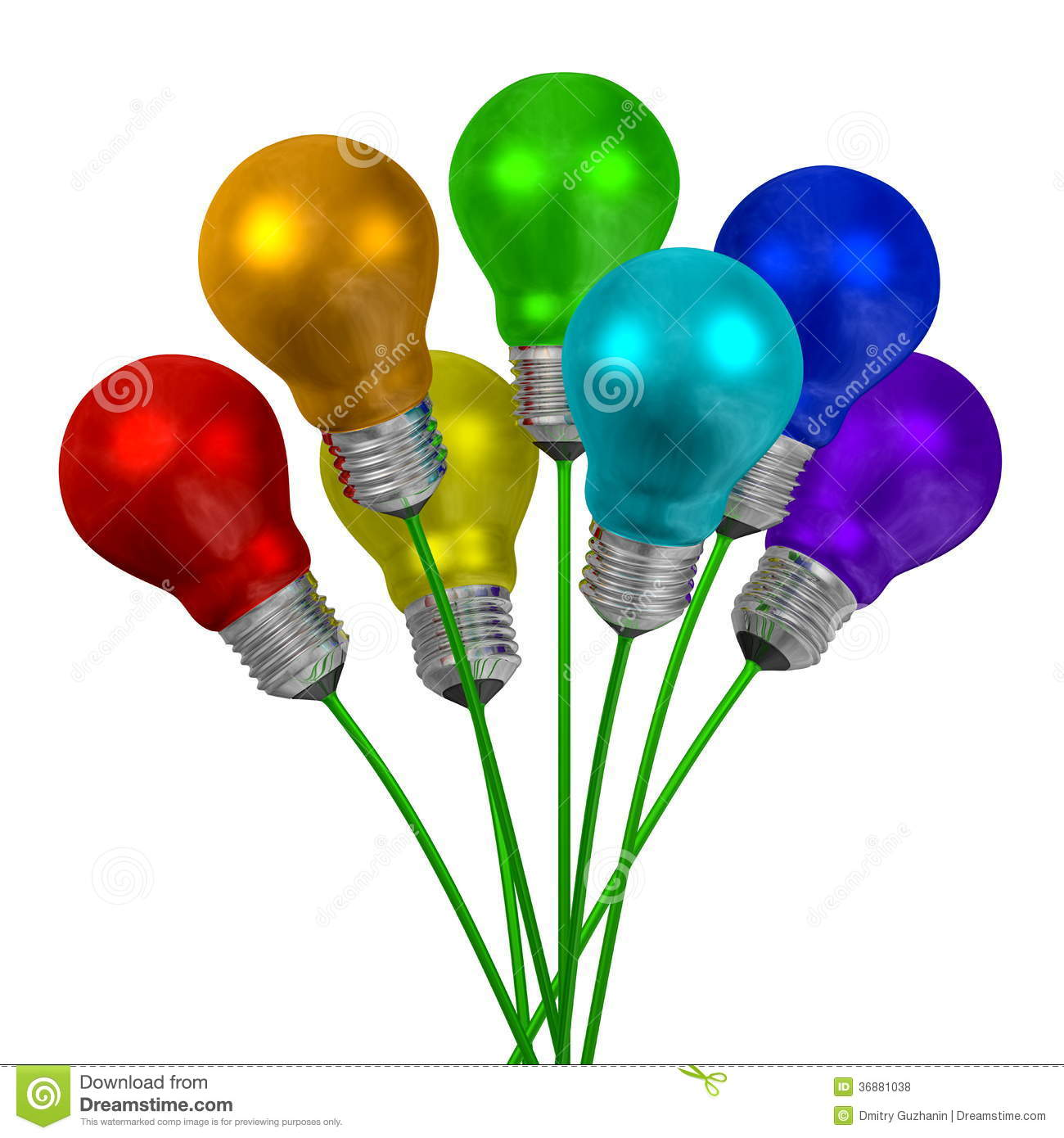 bouquet of light bulbs of different colors on green wires royalty free stock photos image. Black Bedroom Furniture Sets. Home Design Ideas