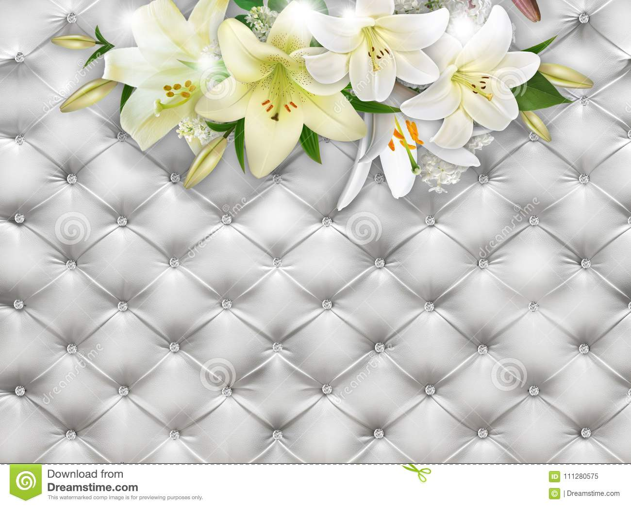 Bouquet of lilies on a background of white leather. Photo wallpaper. 3D rendering