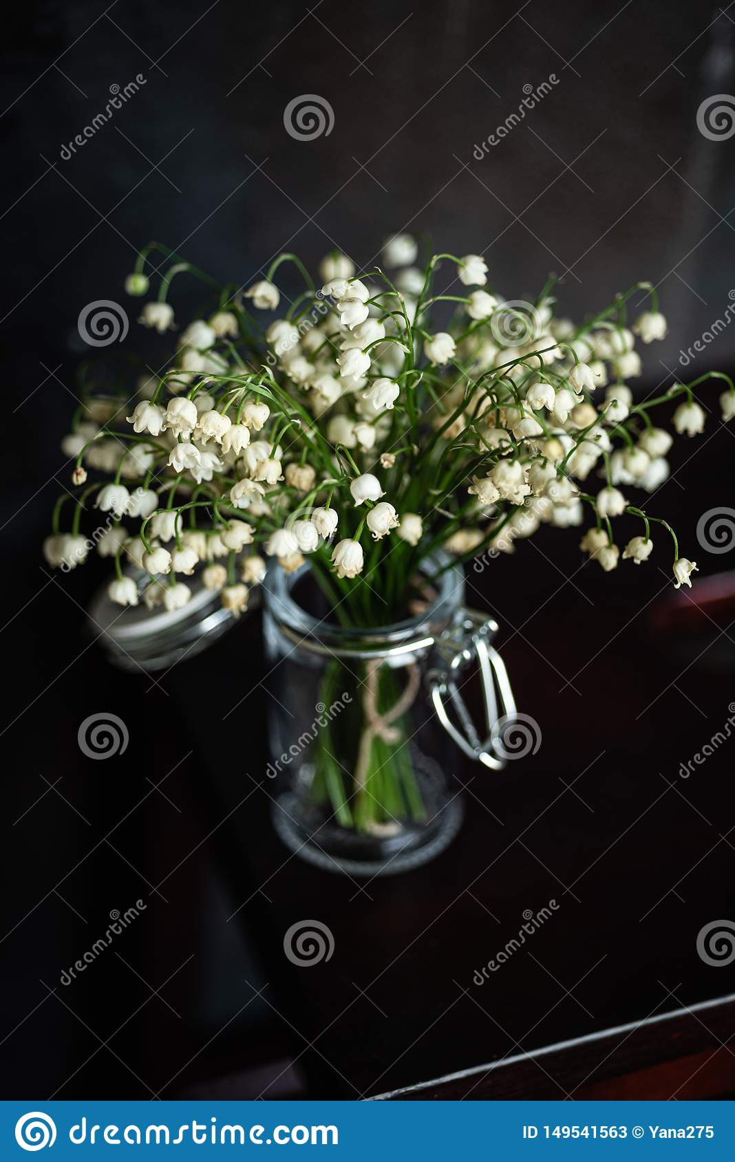 Bouquet of lilies of the valley, dark background