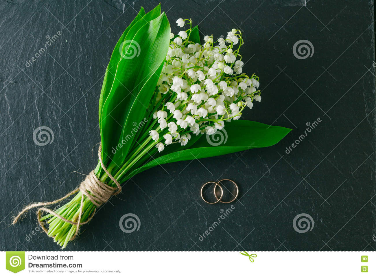 Bouquet Of Lilies Of The Valley On A Dark Background, Top View Stock ...