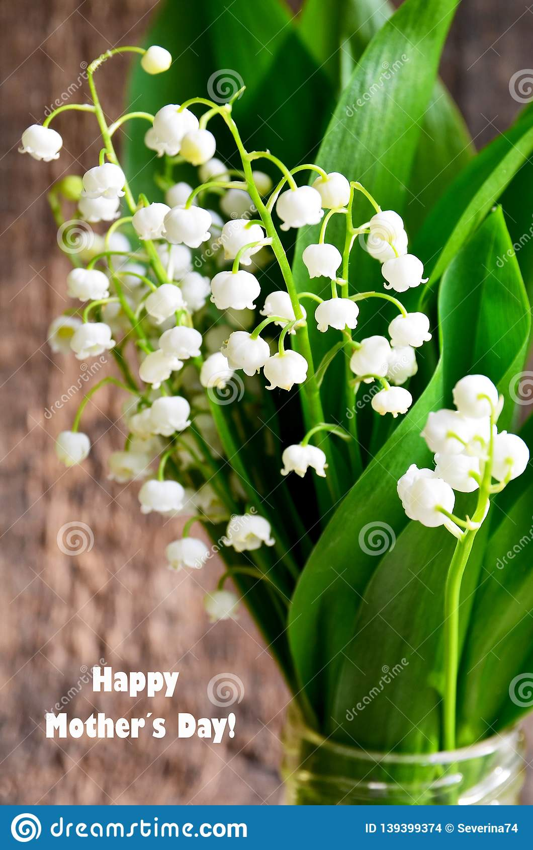 Bouquet Of Lilies Of The Valley On Old Wooden Background.Lily Of The Valley  Spring Flowers.Concept For Mother´s Day. Stock Photo - Image of  composition, decoration: 139399374