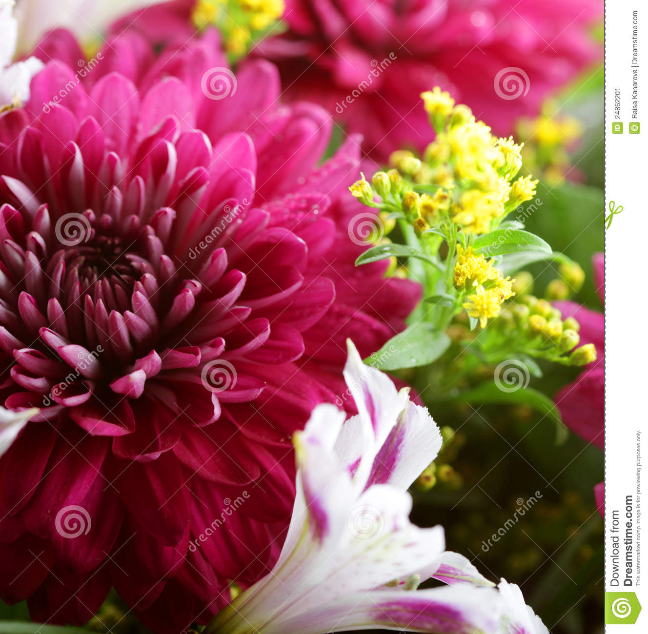 bouquet with a lot of different flowers stock image