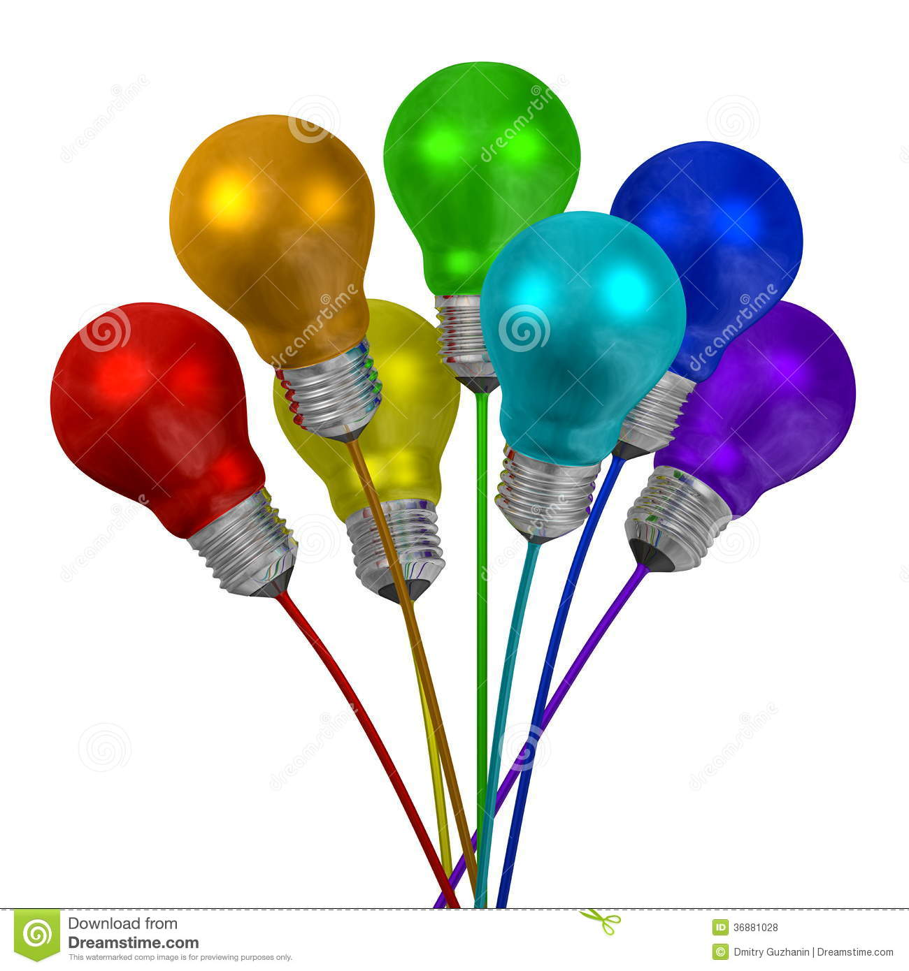 bouquet of many colored light bulbs on wires of different