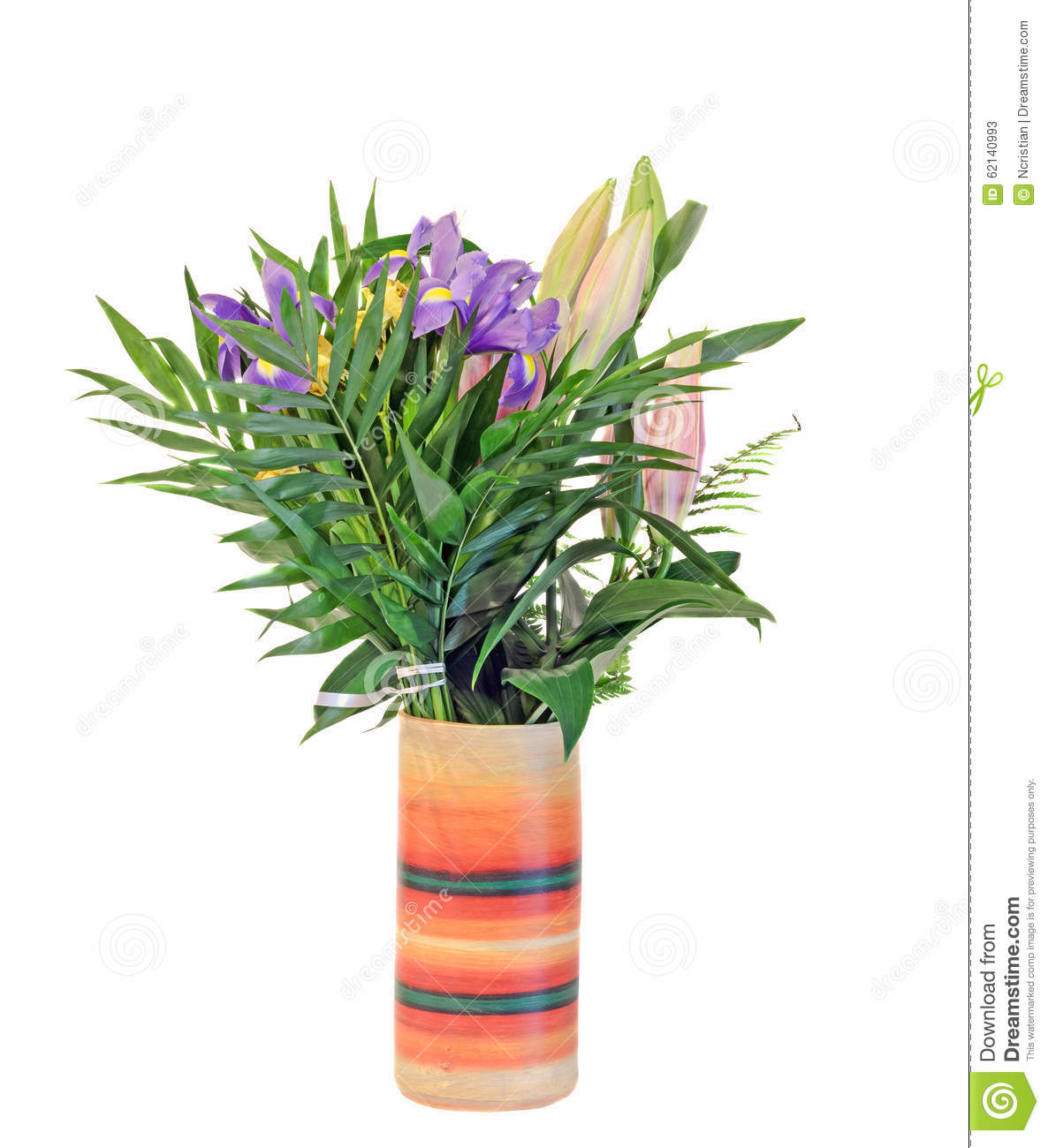 Bouquet Of Mauve Iris Flowers With Lilies Buds In A Vibrant Colored