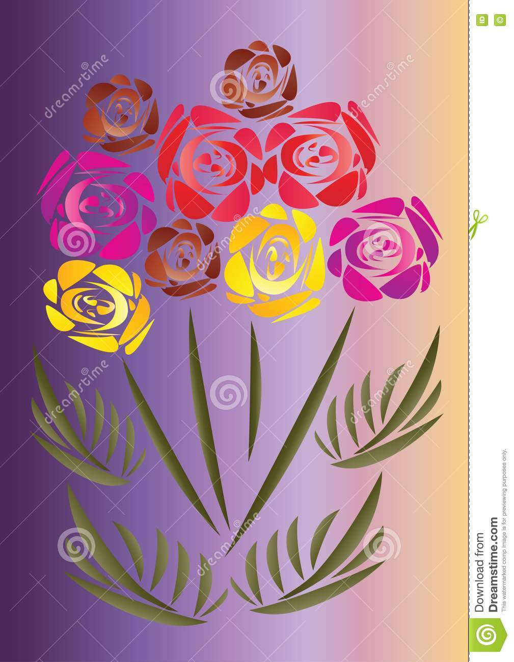 A bouquet of nine multi colored roses stock photography for Different color roses bouquet