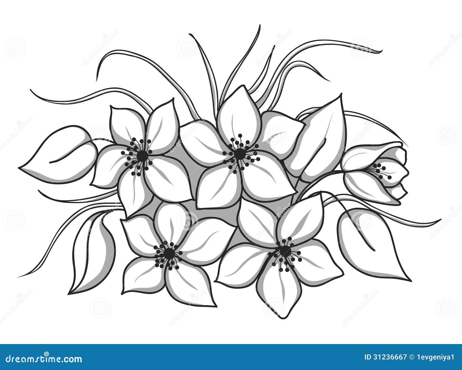 Bouquet Noir Et Blanc Des Fleurs Avec Les Feuilles Et L 39 Herbe Photographie Stock Libre De Droits