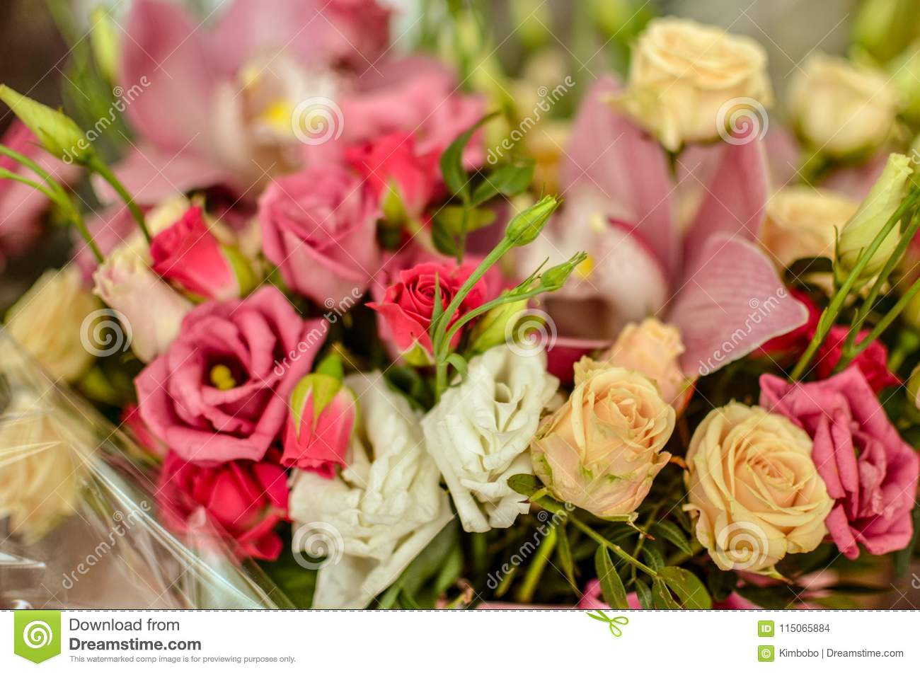 Bouquet With Orchids And Roses On A Beautiful Background Stock Photo Image Of Background Arrangement 115065884