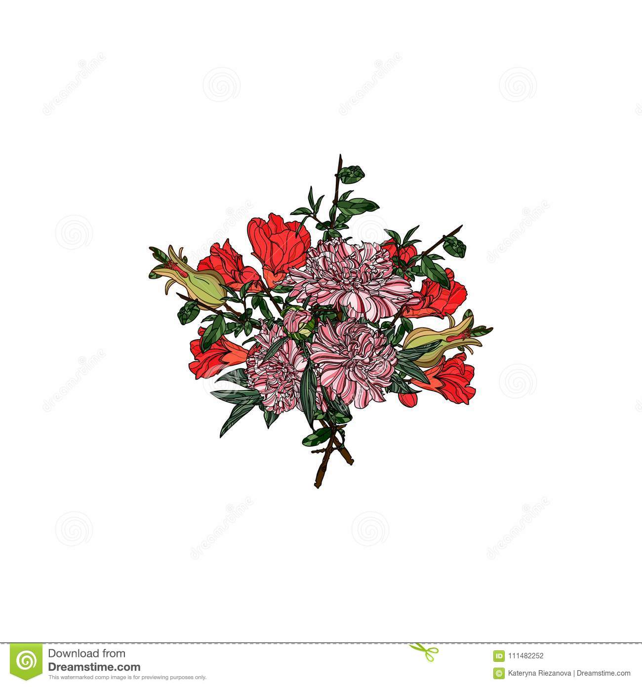 Bouquet of peony and pomegranate flowers.