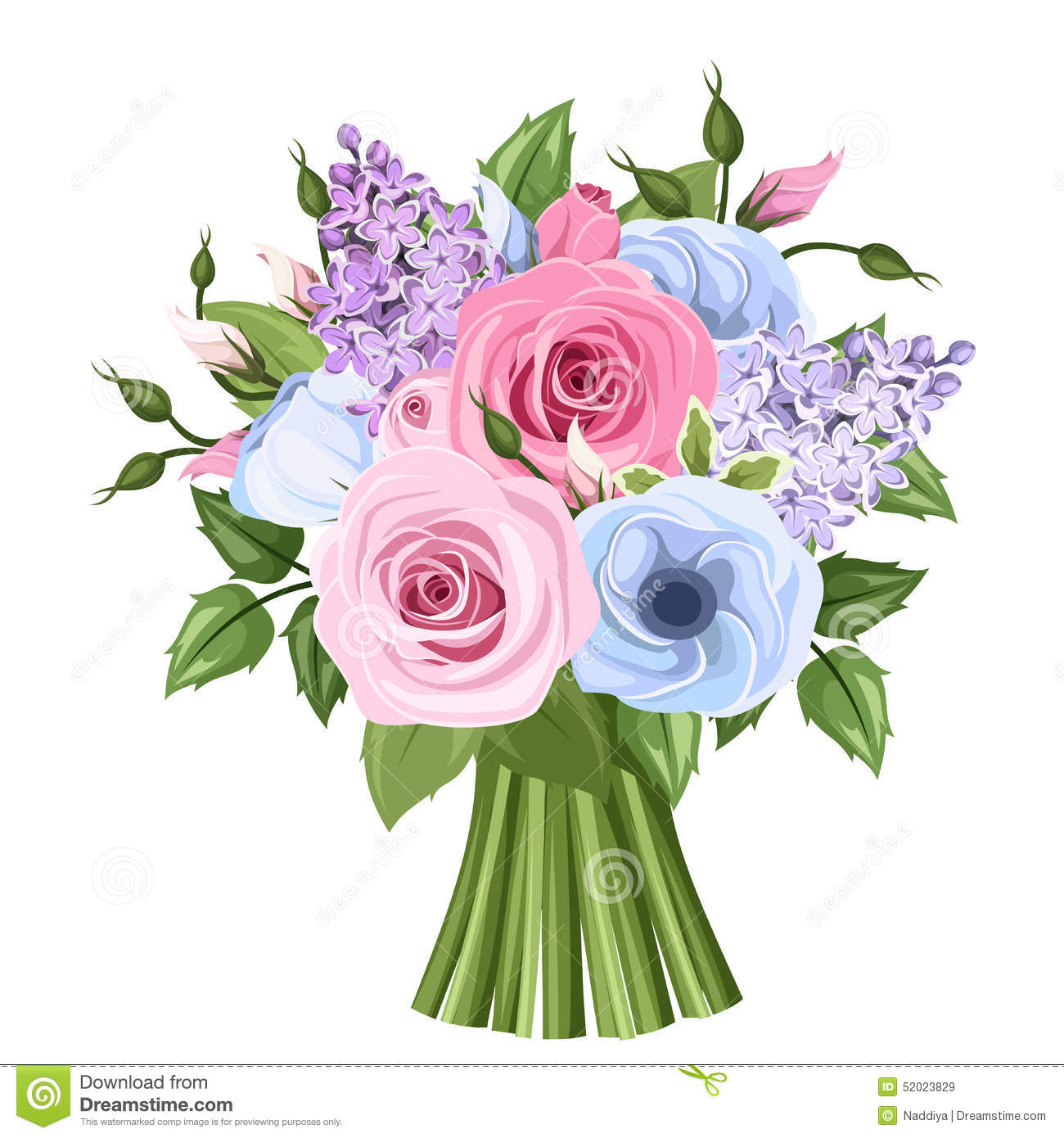 Bouquet Of Pink Blue And Purple Roses Lisianthus And Lilac Flowers